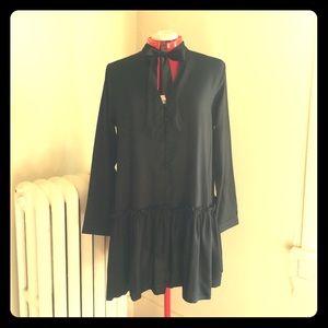 Asos Black Ruffled Shift Dress with Bow 10 NWT